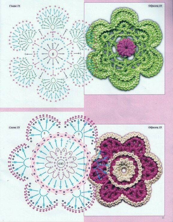 Imagen relacionada | Puntadas | Pinterest | Flores, Puntos crochet y ...