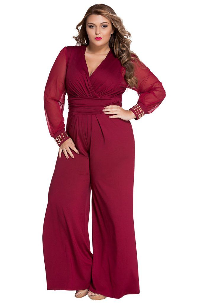 aeff49fee6b8 Combinaisons Femme Soiree Grande Taille Rouge Embelli Maille Longue Manches  MB6650-3 – Modebuy.com