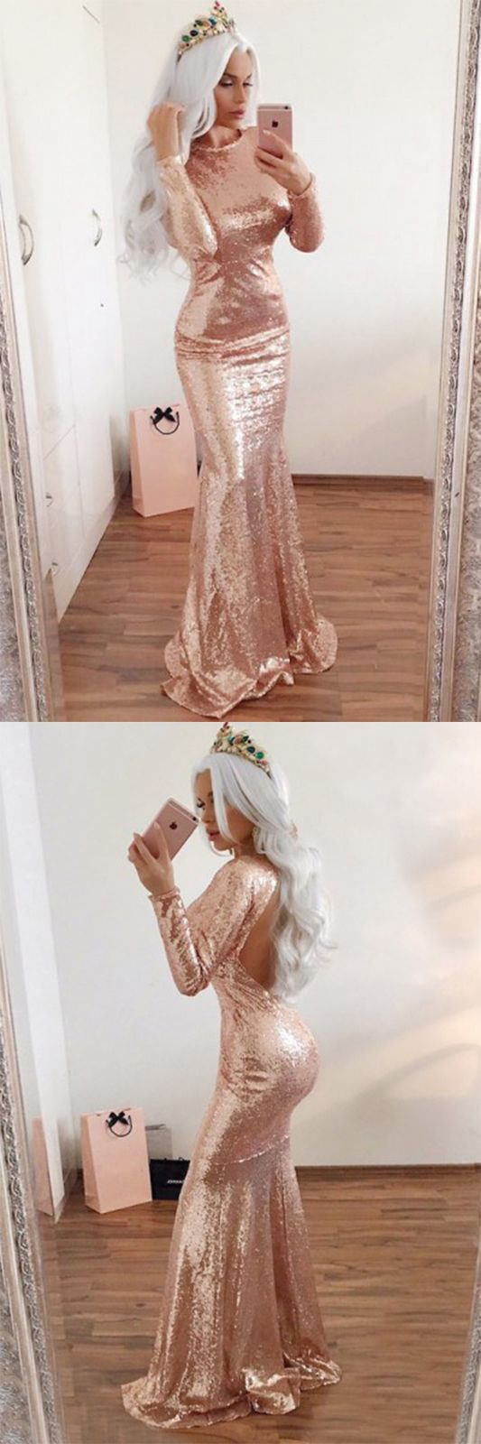 Mermaid prom dresseslong sleeve prom dressrose gold prom dresses