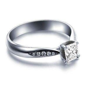 0.5 Carat Princess cut Diamond Diamond Engagement Ring On 10K White Gold