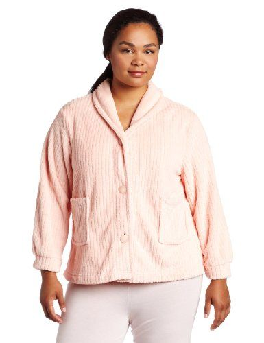 fa4e0286665cb Casual Moments Women s Plus Size Shawl Collar Bed Jacket