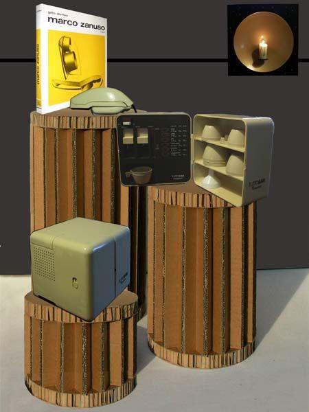 eco-cestini che se capovolti diventano utili piedistalli da esposizione.