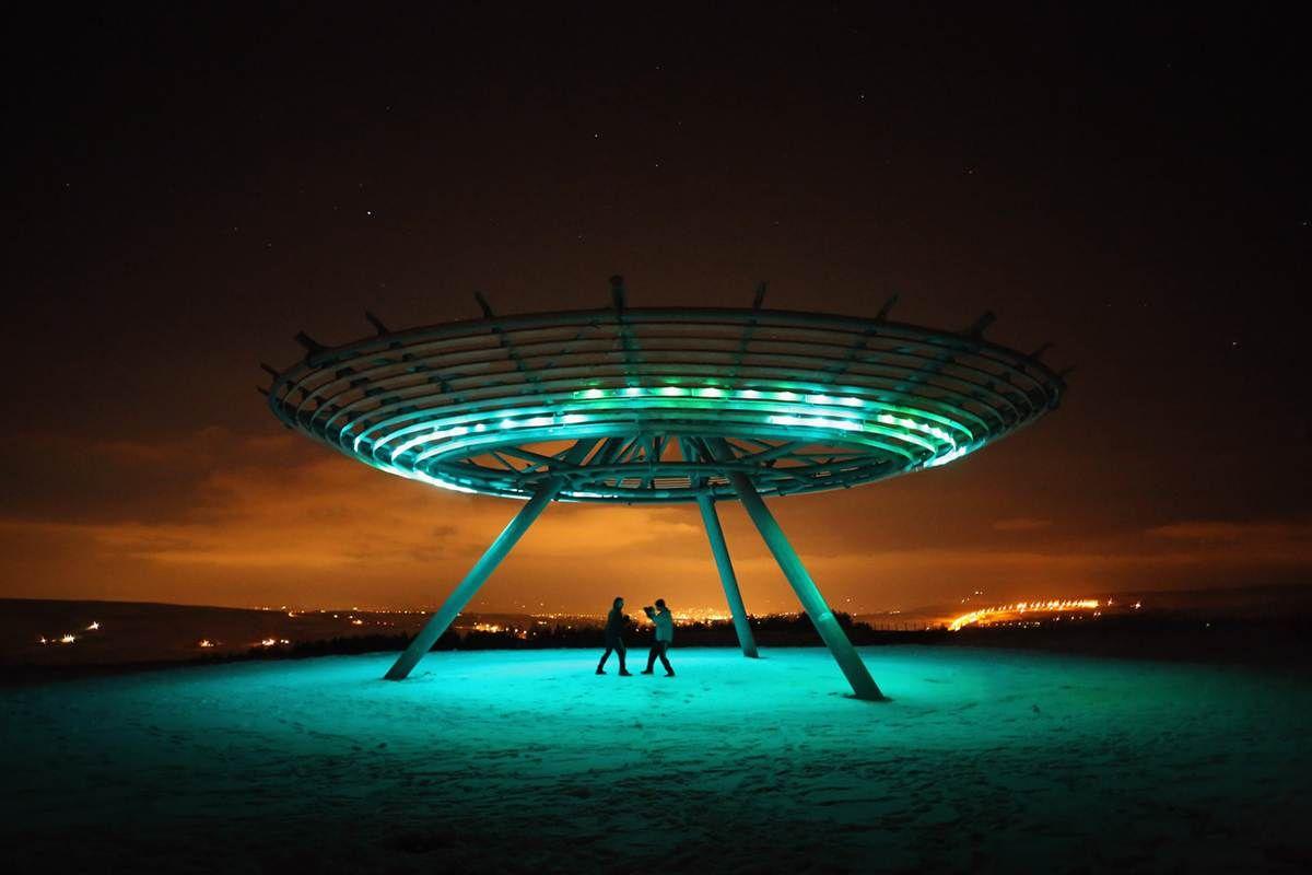 "The illumination of the Haslingden ""Halo"" Panopticon in Rawtenstall, England"