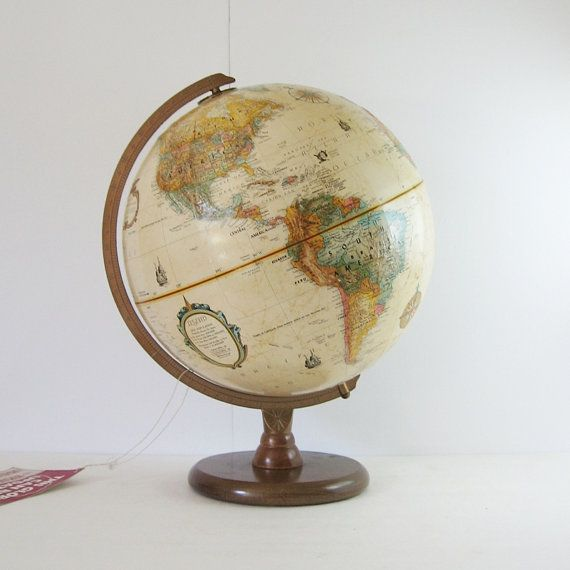 Vintage Replogle Globe   12 Inch World Globe With Wood Base   Neutral Home  Decor   Educational Teaching Tool   Trip Planner Travel Souvenir
