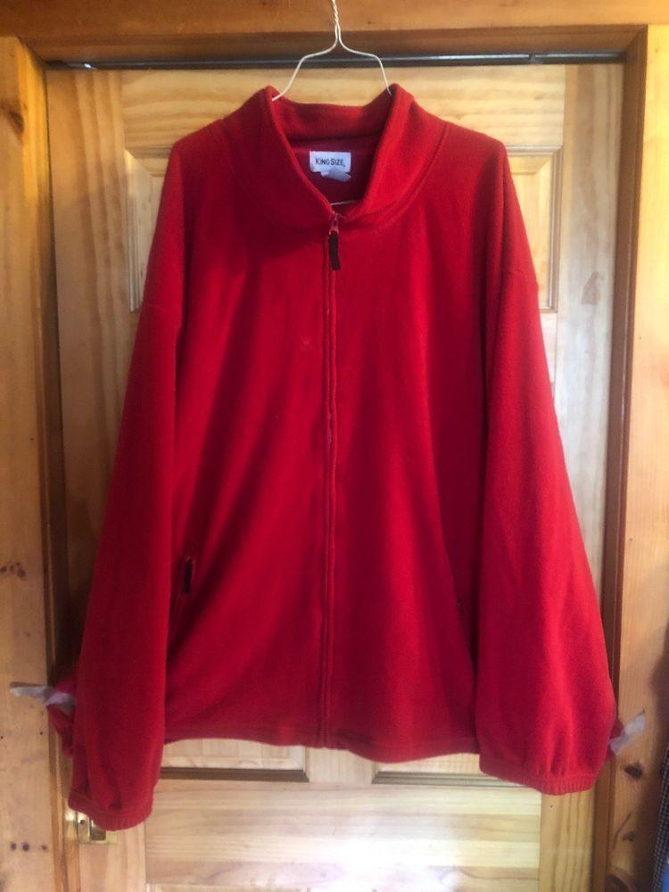 160418694 MENS BIG KING SIZE PLUSH RED ZIP FRONT FLEECE JACKET COAT 8XL Big Tall |  eBay