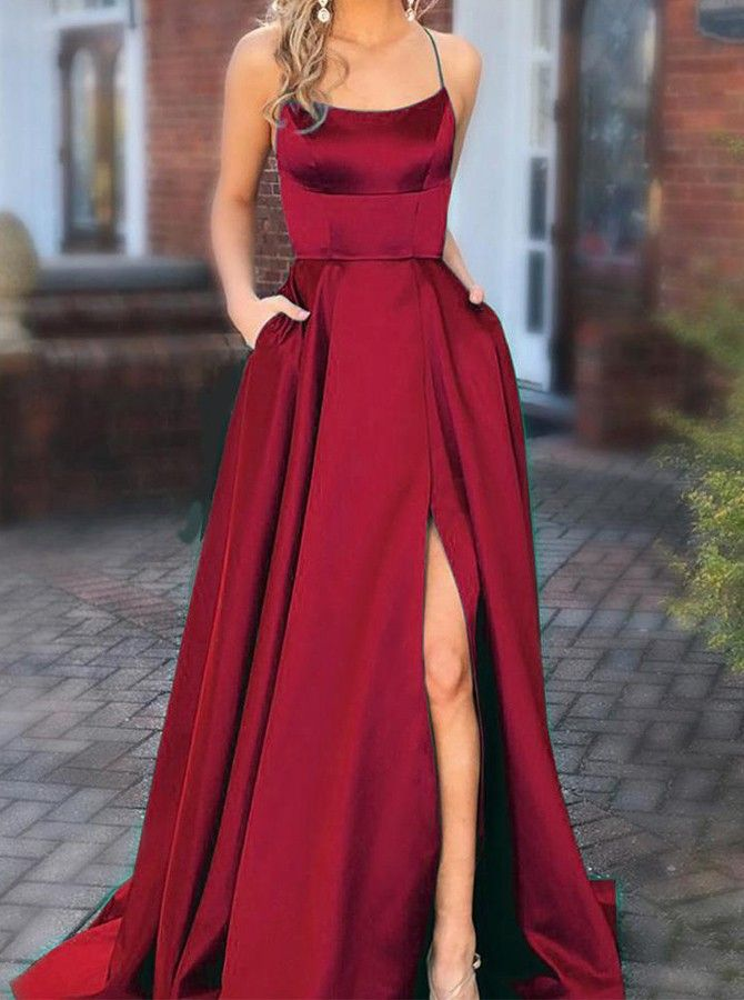 Chic White Spaghetti Straps Prom Dress with Pockets Backless Satin Party Dress – Dress