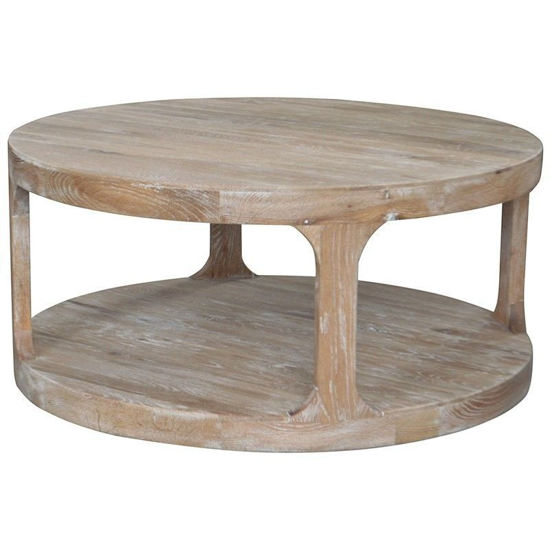 Frans Solid Oak Timber Round Coffee Table White Washed Oak