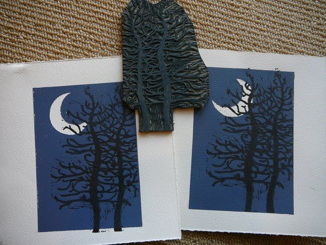 Winter Moon 65 X 5 Two Color Linocut With Colored Pencil Watercolor On Soft White Arches Printmaking Paper Size Is 75
