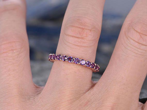Natural 2mm Round Amethyst Wedding Ring Band 14k Rose Gold Etsy Amethyst Wedding Rings Wedding Ring Bands Wedding Rings