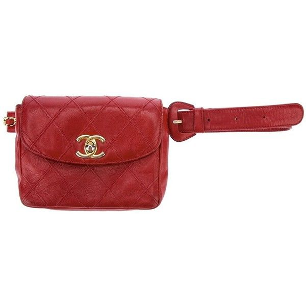5bab3041766abc Chanel Vintage quilted belt bag ❤ liked on Polyvore featuring bags, red  fanny pack, waist fanny pack, waist bag, bum bags and red quilted bag