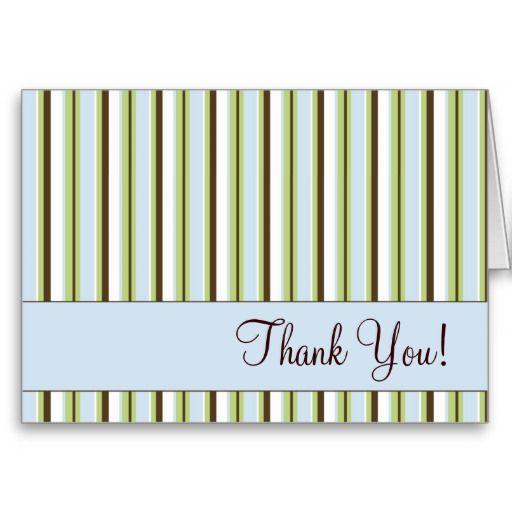 Thank You Blue Stripes Greeting Card