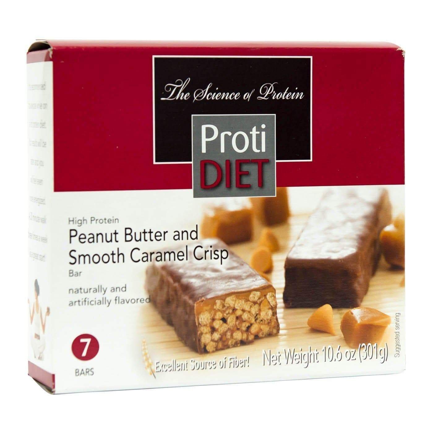 Protidiet Protein Bar Peanut Butter And Smooth Caramel Crisp 7 Box Ideal Protein Alternatives Low Carb Snack Bars Meal Replacement Bars