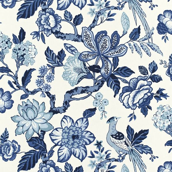 Huntington Garden | 175560 in Bleu Marine | Schumacher Fabric by Timothy Corrigan |  Printed on crisp linen, this exquisite pattern is a romantic, painterly take on the classic tree of life motif.