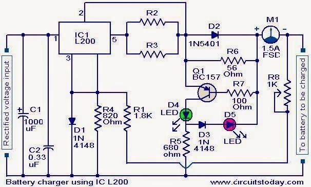 Battery Charger Circuit Using L200 Electronics En 2019