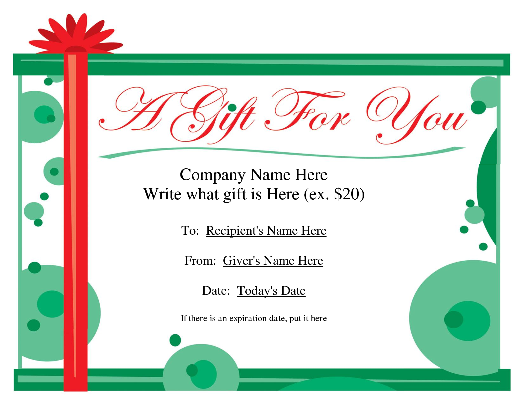 Free printable gift certificate template free christmas for Gift certificate example templates