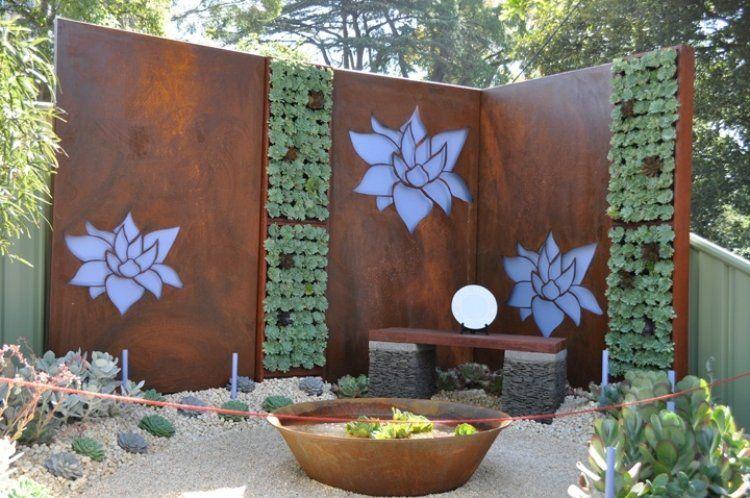Brise vue jardin et déco en acier corten- 30 idées splendides ...