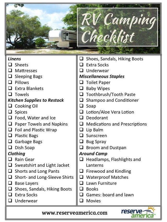 RV Camping Checklist Rv camping checklist, Camping