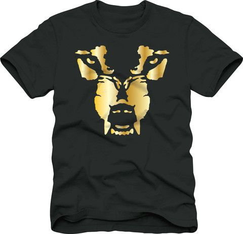 T-Shirt: Wolf Face - Gold