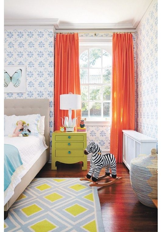 Colorful childrens bedroom with orange curtains - Home and Garden Design Ideas