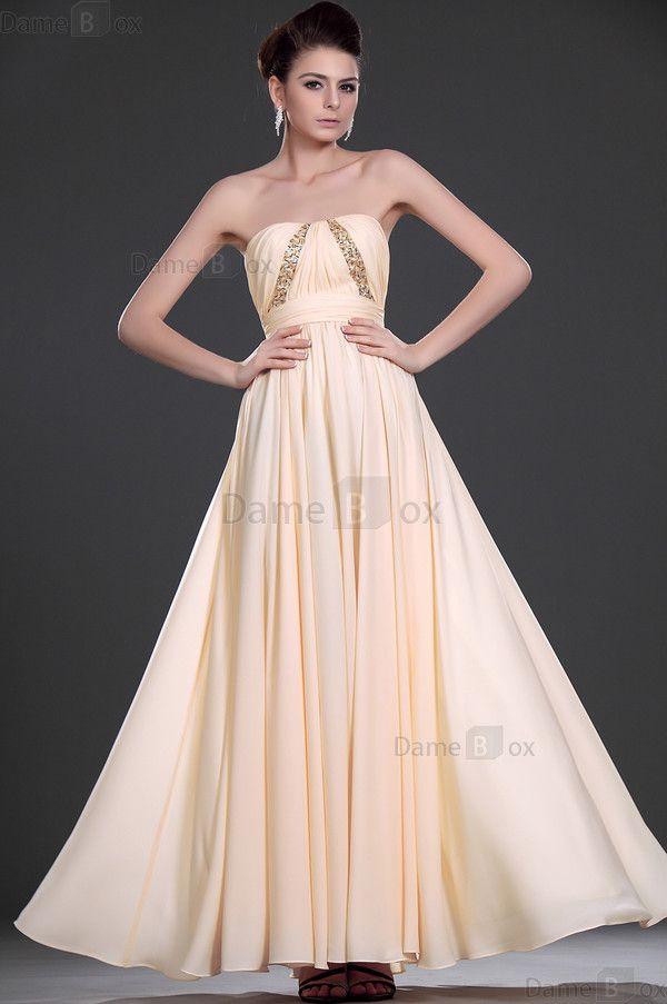 Trägerloser Ausschnitt Etui natürliche Taile Elegantes Abendkleid aus Chiffon - Damebox.com