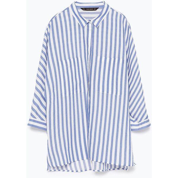 Zara Striped Shirt With Kimono Sleeves ($36) ❤ liked on Polyvore ...