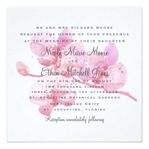 Pink and Purple Watercolor Orchid Square Wedding Invitation Red