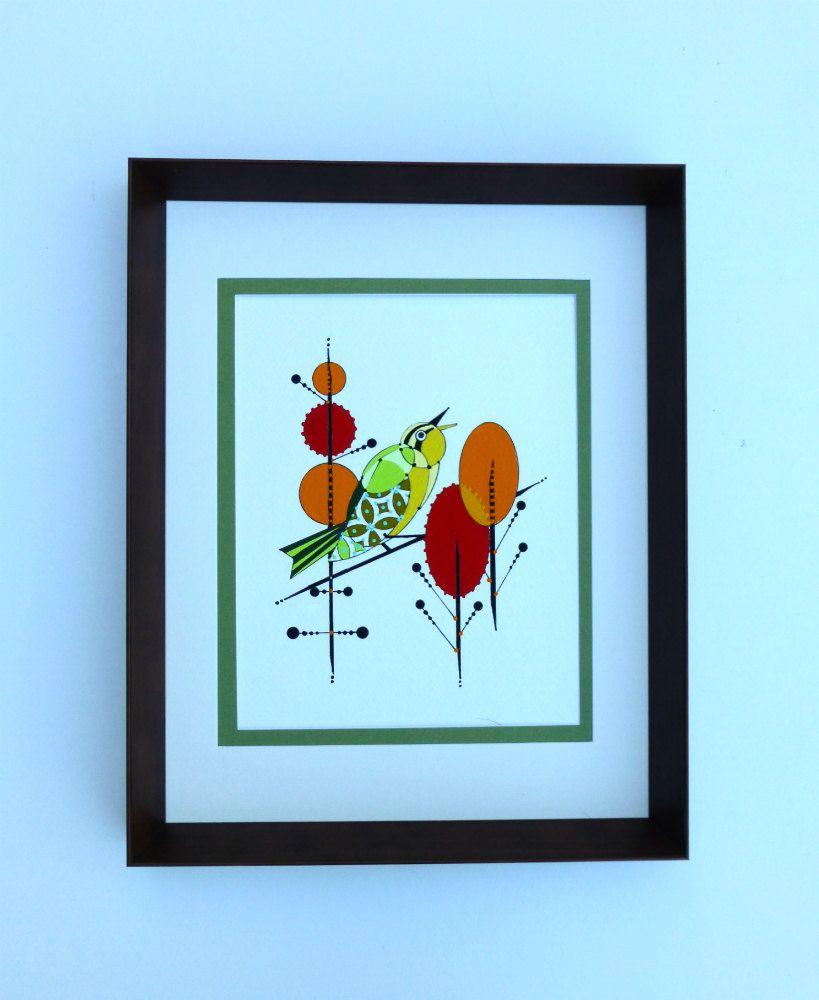 Retro minimalist original bird painting mid by COLBYandFRIENDS, $60.00
