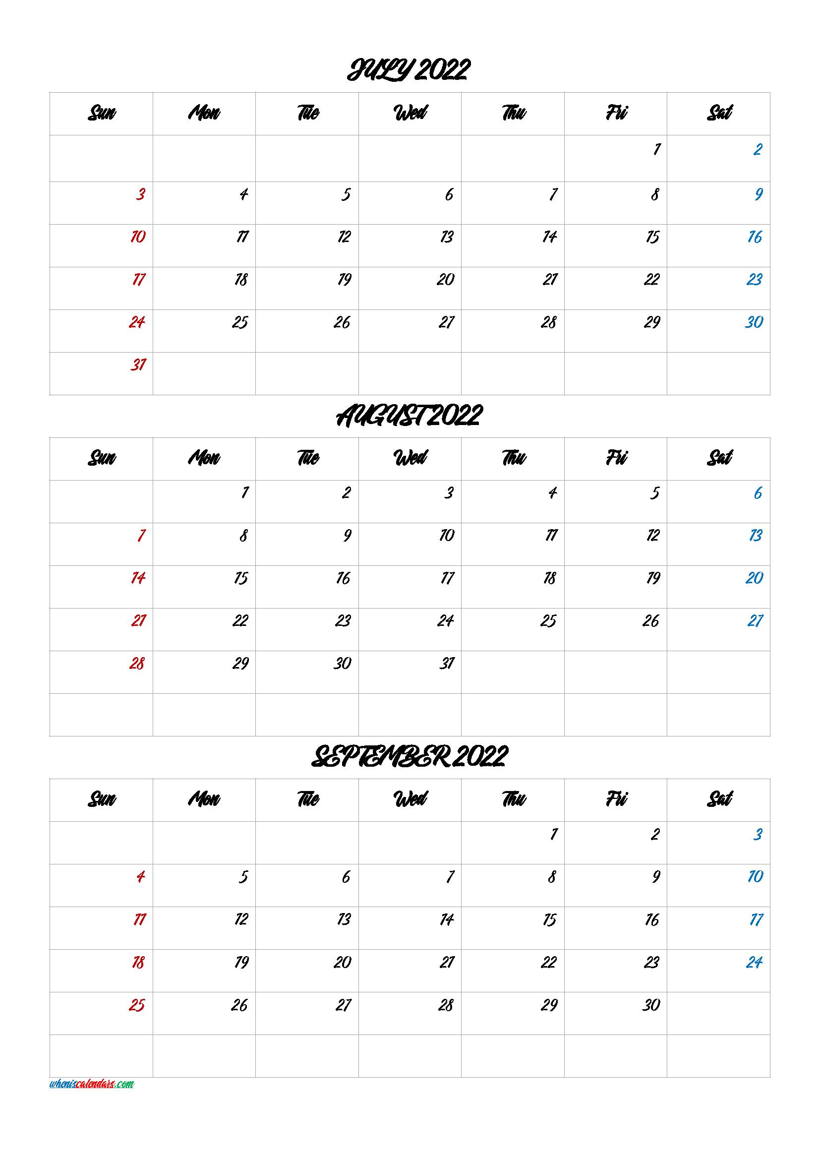 Printable Calendar July August 2022.Printable Calendar July August September 2022 Q1 Q2 Q3 Q4 Printable Calendar July Printable Calendar Calendar Printables
