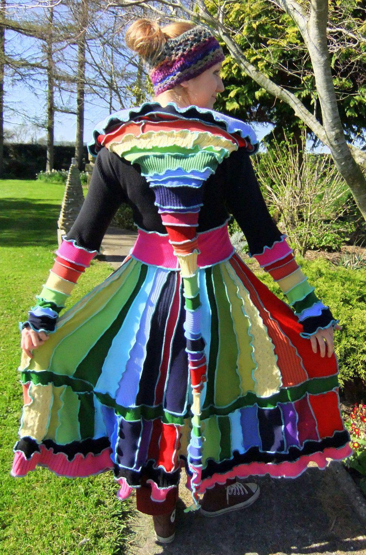 DEPOSIT for a Custom Rainbow elf coat - Extra Full Long length with Checkered hem. €82,00, via Etsy.