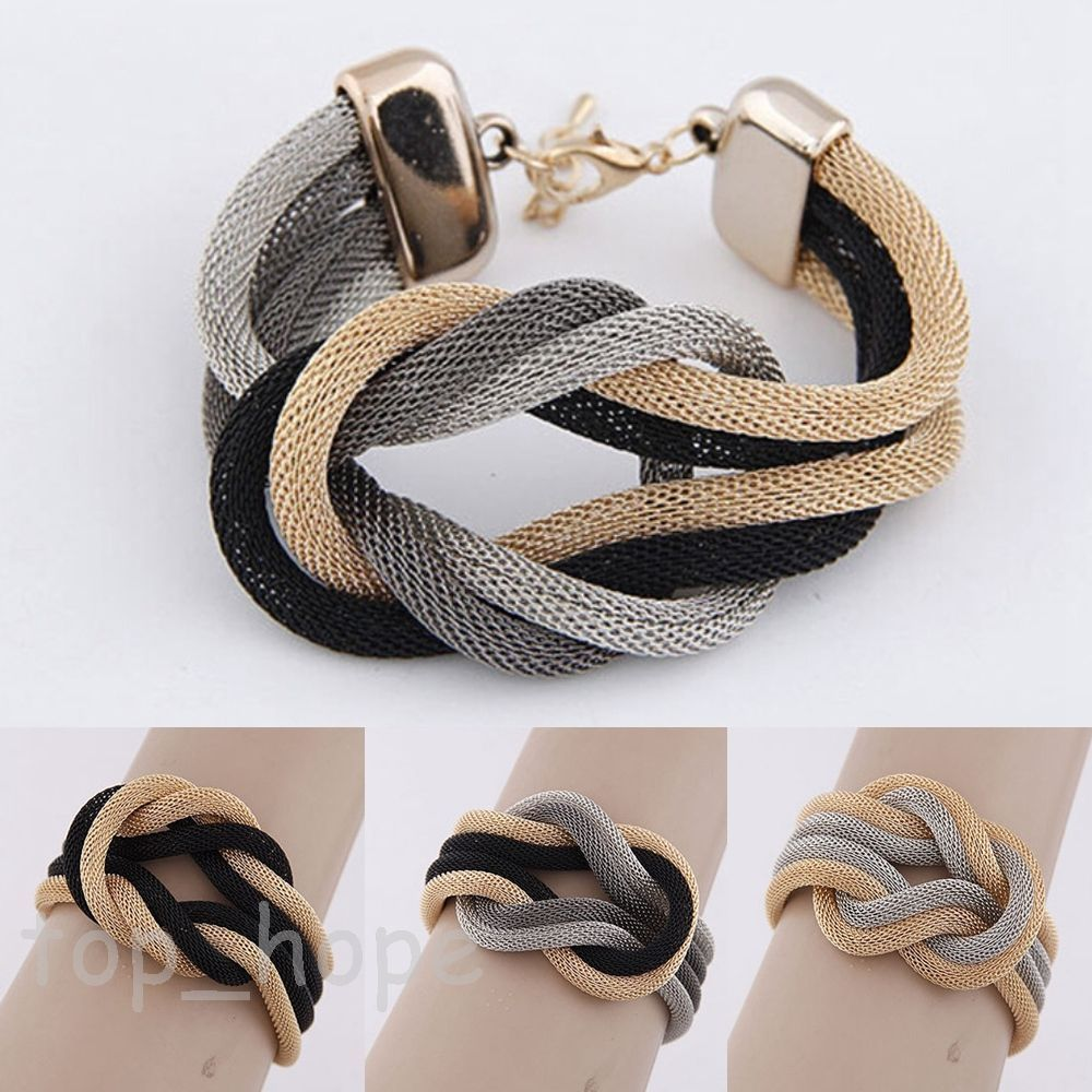 Womenus fashion simple bracelet gold knot bangle charm cuff jewelry