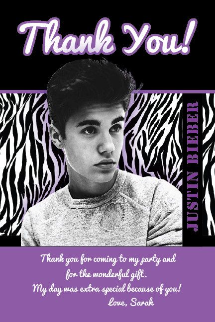 Justin Bieber Printable Birthday Party Thank You Card File 4x6 Photo Custom Personalized For Girl Or Boy 24hr Turnar 6th Birthday Parties Party Sleepover Party