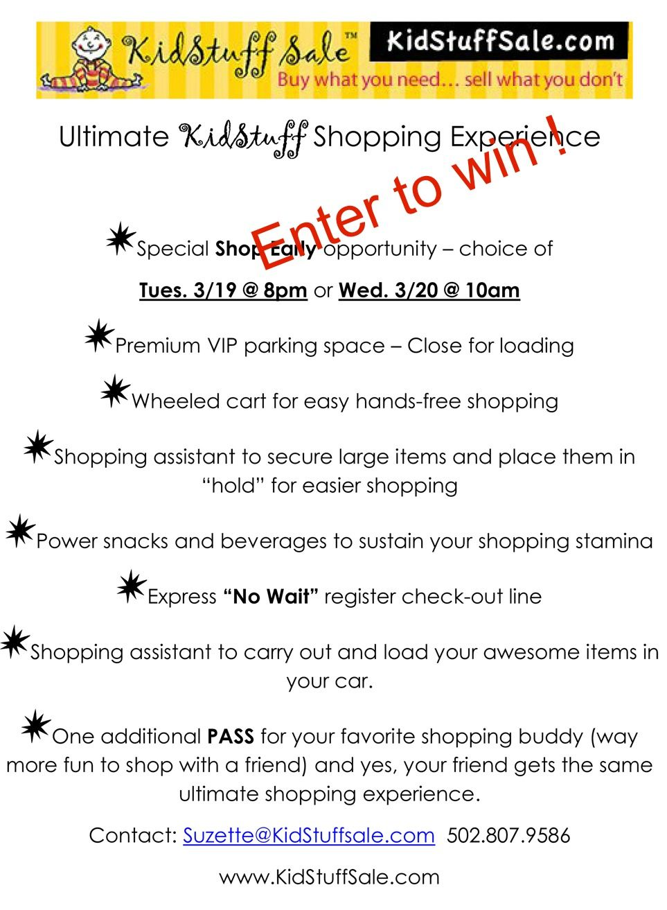 dc57d91f2f8 Enter to win the Ultimate KidStuff Shopping Experience East Louisville  Event - winner shops March 19th or 20th public sale begins March 21st-24th