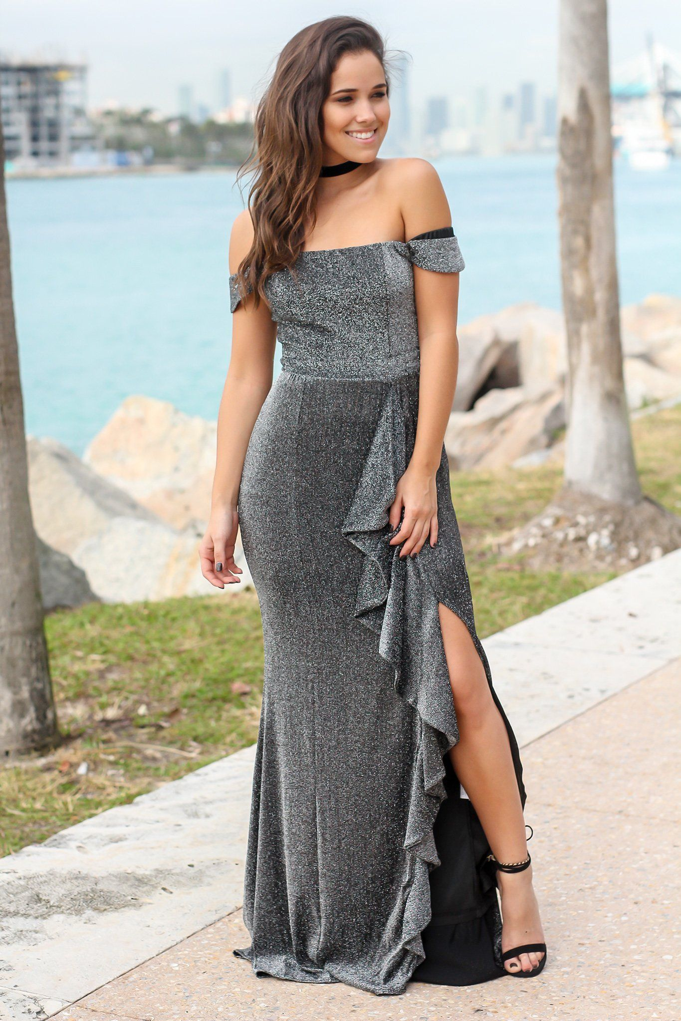 fcb74b9604b5 Black and Silver Off Shoulder Maxi Dress