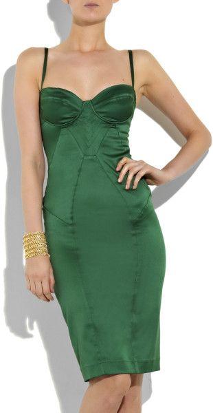 Just Cavalli Stretchsatin Corset Dress In Green Emerald Lyst