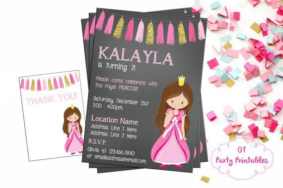 Princess Birthday Invitation  Princess Party by OTPartyPrintables
