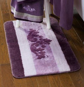 Purple Lavender Winter Blush Scroll Bath Rug Towels Accessory Set