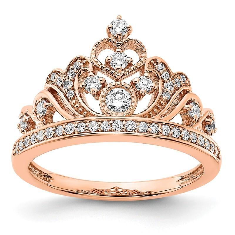 14k Rose Gold 0 391 Ctw Diamond Tiara Crown Ring Gold Diamond Wedding Band Blue Diamond Engagement Ring Diamond Tiara