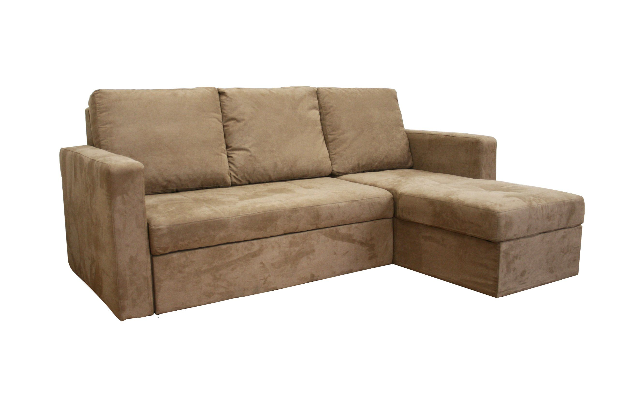 linden tan microfiber convertible sectional sofa bed modern rh pinterest com Sectional Sofas with Sleeper Beds Contemporary Sectional Sofa Bed with Shelves