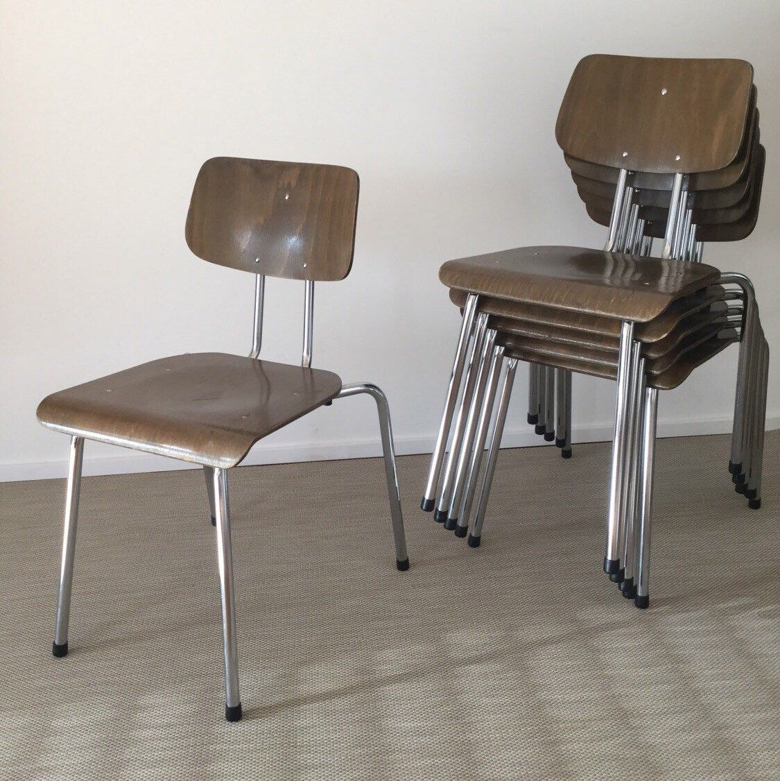 70s bentwood stacking chairs with chrome frame (6 pieces available ...