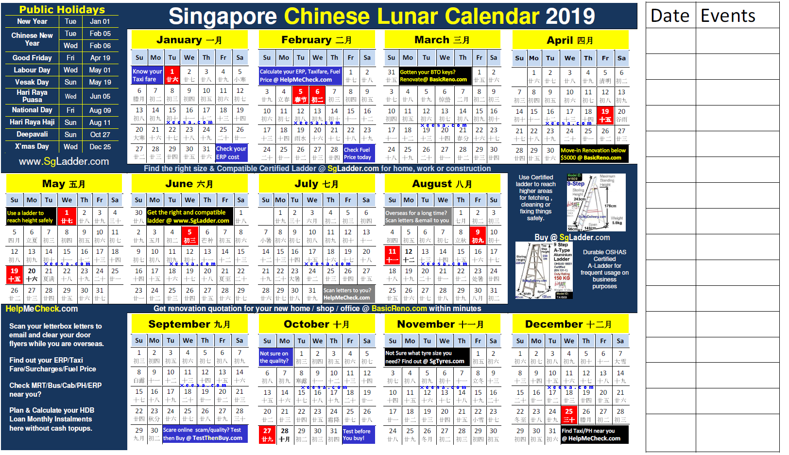Chinese Lunar Calendar 2019 Free For Singapore