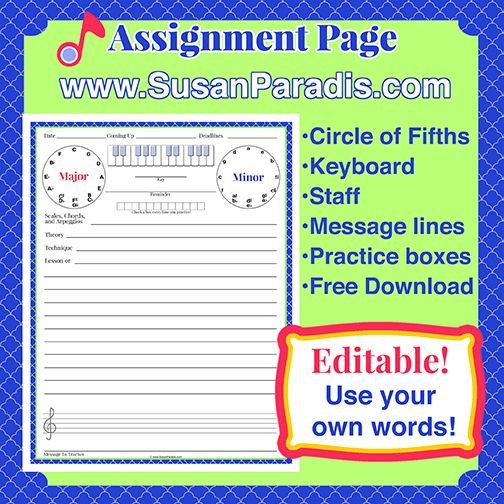 Assignment Page TemplateEditable  Piano Teaching And Music Education