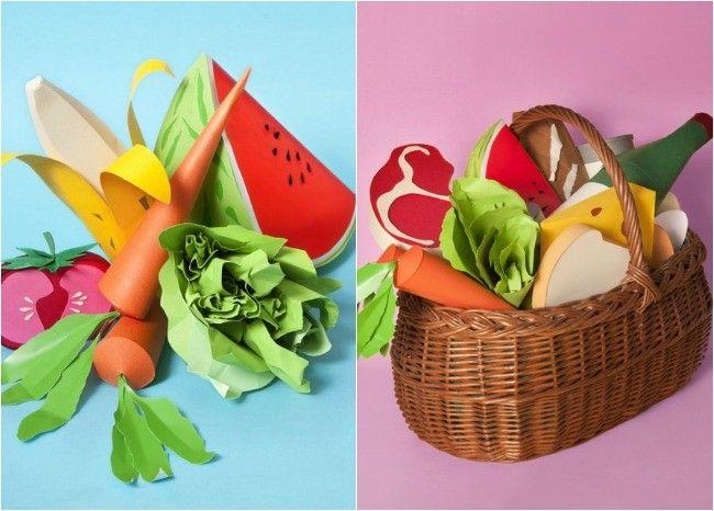 Alimentos esculpidos en papel por María Laura Benavente Sovieri