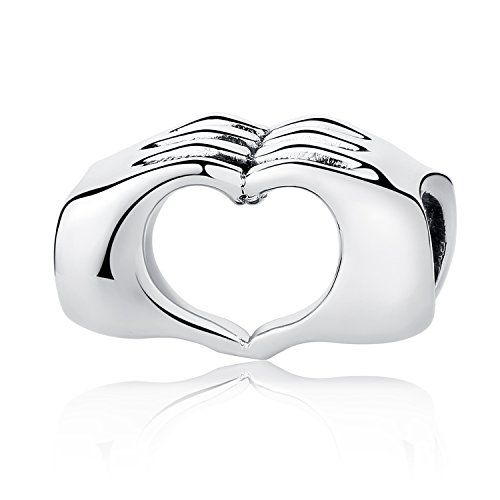 ONE CHUNKY STERLING SILVER 925 HEART CHARM BEAD WITH LARGE HOLE 7 MM