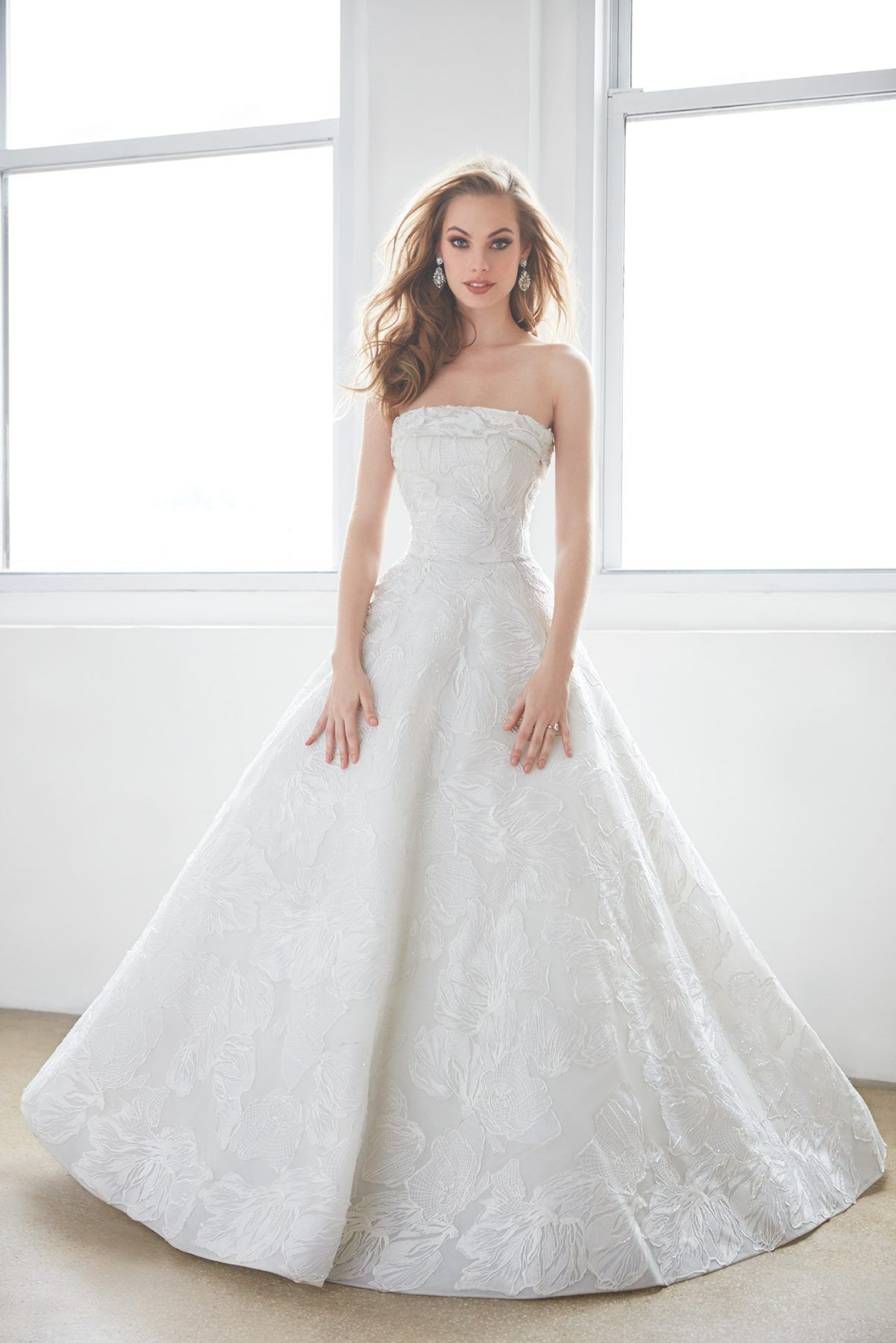 Lace ball gown wedding dresses  Straight Strapless Floral Lace Ball Gown Wedding Dress by Madison