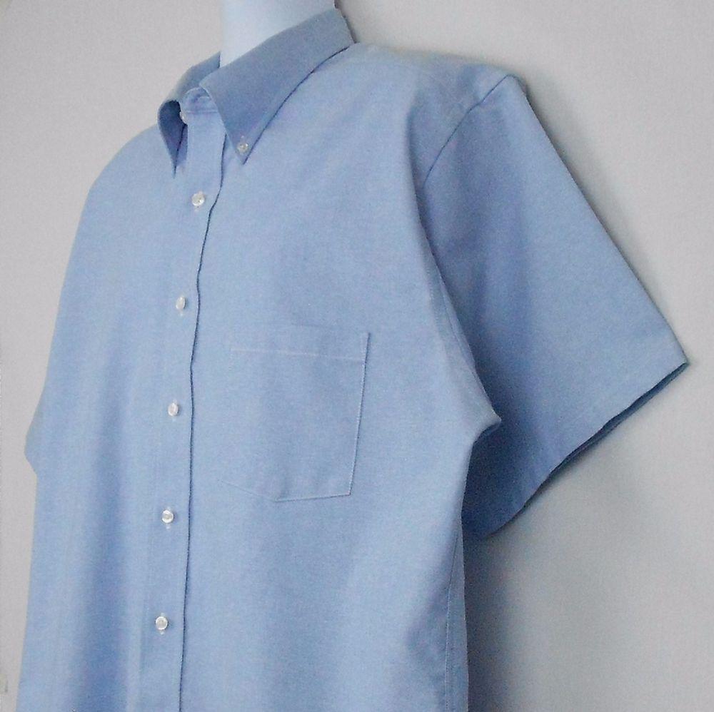 Puritan Size 17 12 Blue Cotton Blend Short Sleeve Button Down Dress