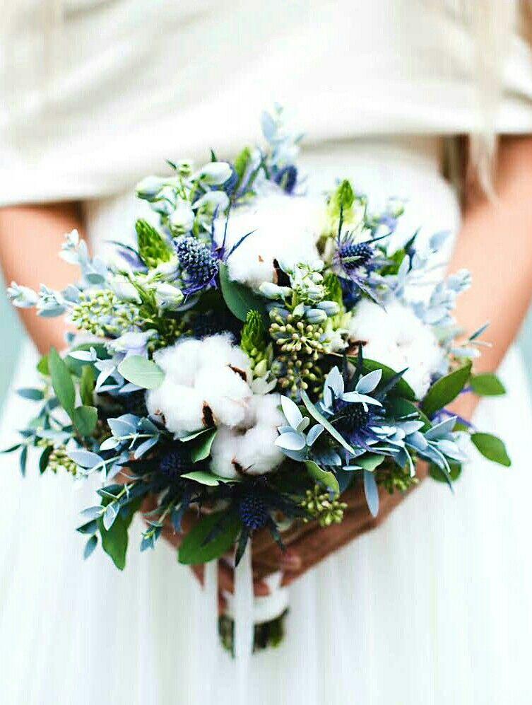 Beautiful Wedding Bouquet Showcasing Blue Eryngium