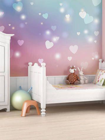 Pink Hearts Wallpaper Mural Girls Bedroom Decor, Heart Wall ...
