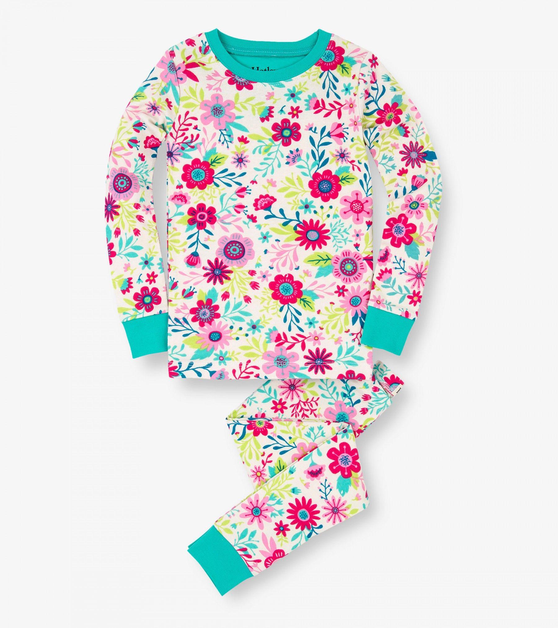 Flowers Organic Cotton Pajama Set Long Pajamas
