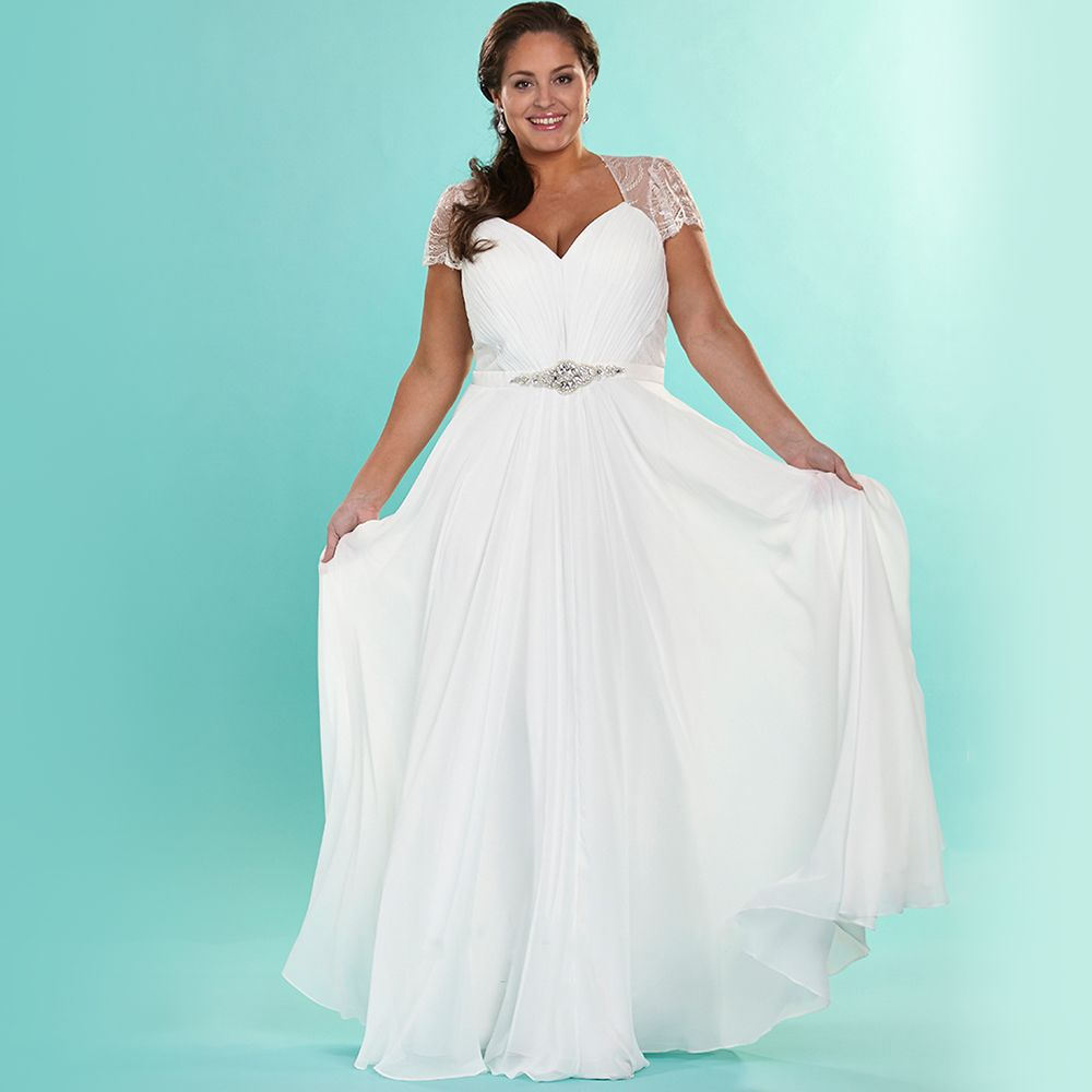 Love the Elegant Chiffon Plus Size Wedding Dresses With Sleeves ...