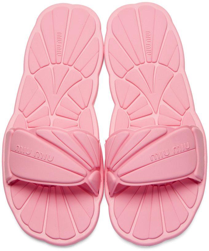 f01b9e0ac4e9c1 Miu Miu - Pink Rubber Pool Slide Sandals